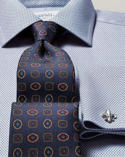 Bügelfreies Slim Fit Hemd in Blau mit Imperial-Webstrukturen