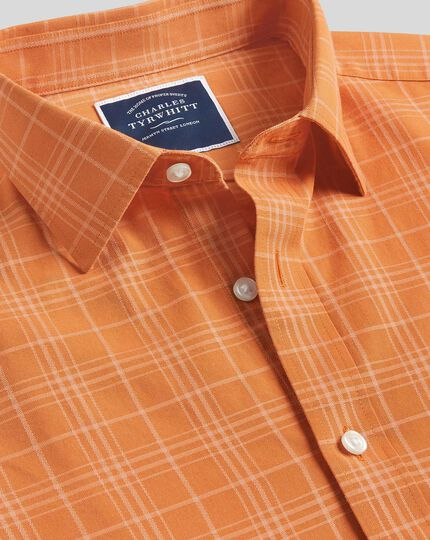 Classic Collar Short Sleeve Tone-on-tone Check Shirt - Orange