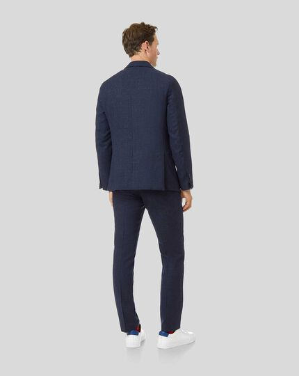 Textured Wool Blend Drawstring Suit - Navy