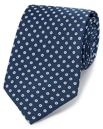 Navy luxury silk English 7-fold tie
