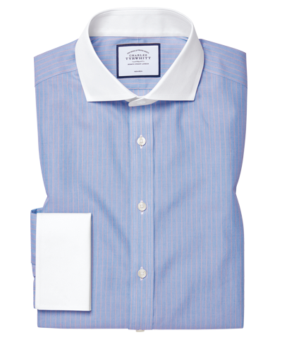 Slim fit non-iron Winchester cutaway blue and red stripe shirt
