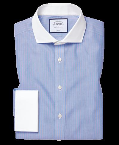 Chemise Winchester à col cutaway bleue et rouge à rayures slim fit sans repassage