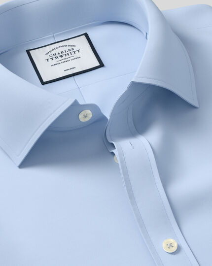 Extra slim fit sky blue non-iron twill shirt