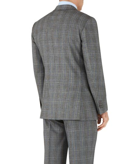 Classic Fit Business Anzug Sakko aus Flanell in Silber mit Prince-of-Wales-Karos