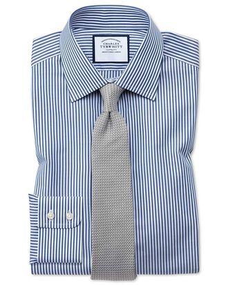 Chemise bleu marine coupe droite à rayures Bengale