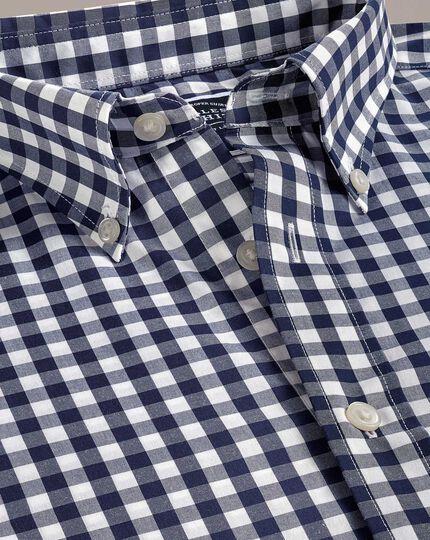 Slim fit button-down non-iron poplin navy gingham shirt