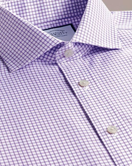 Extra slim fit non-iron cutaway collar lilac grid check Oxford stretch shirt