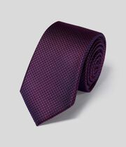 Stain Resistant Silk Slim Tie - Berry