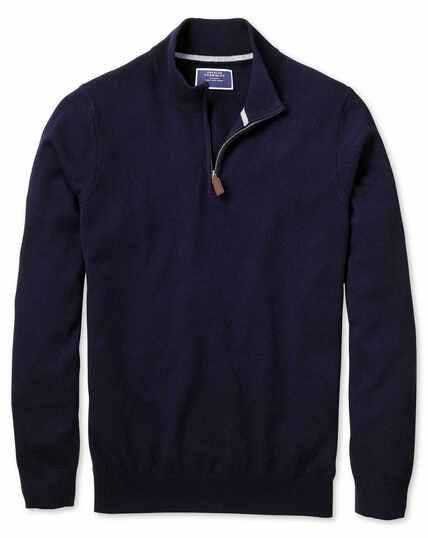 Pullover aus Kaschmir mit Reißverschlusskragen in Marineblau