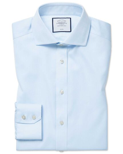 Extra slim fit cutaway non-iron cotton stretch light blue shirt