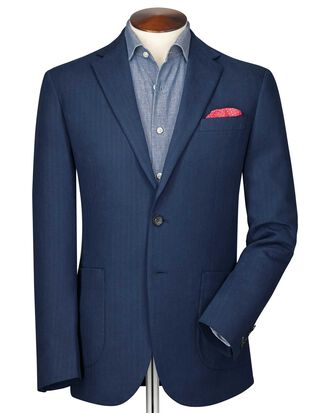 Slim fit indigo herringbone jacket