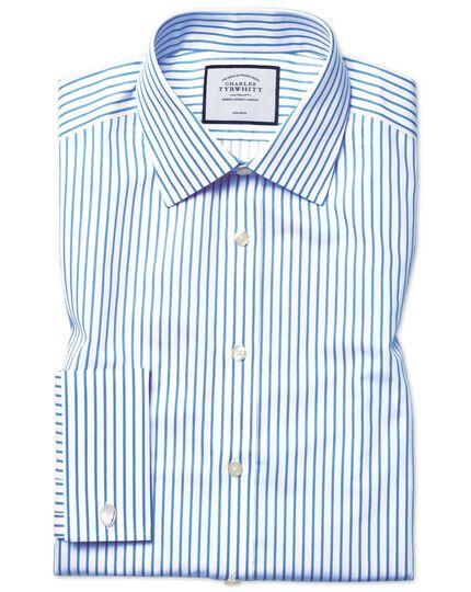Chemise blanche et bleu ciel en twill extra slim fit à rayures sans repassage