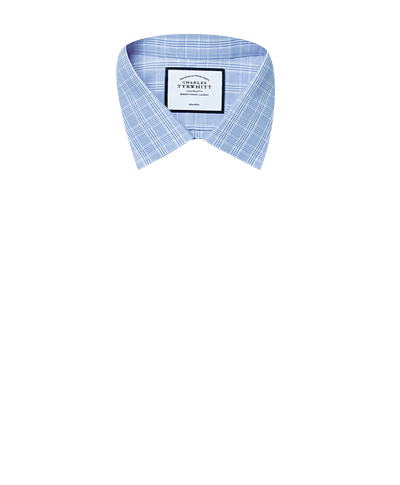 Slim fit non-iron sky blue Prince of Wales check shirt