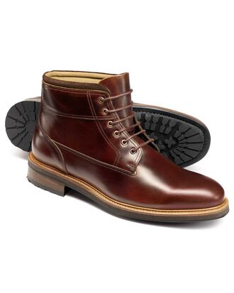 Brown leather commando boots