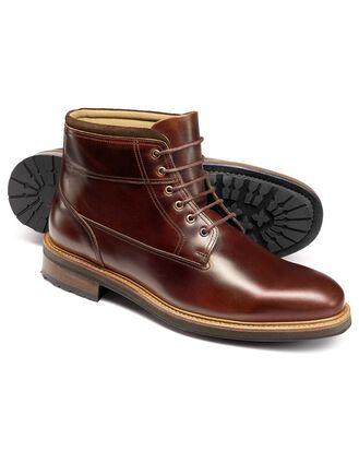 Bottes militaires marron en cuir
