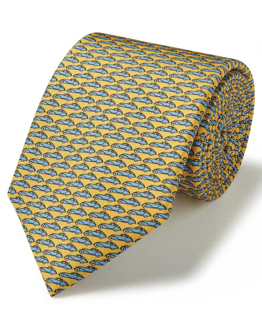 Yellow and sky blue car print silk classic tie