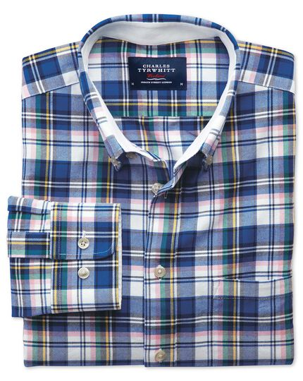 Extra slim fit blue multi check washed Oxford shirt