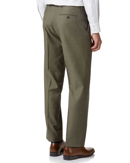 Olive classic fit twill business suit trousers