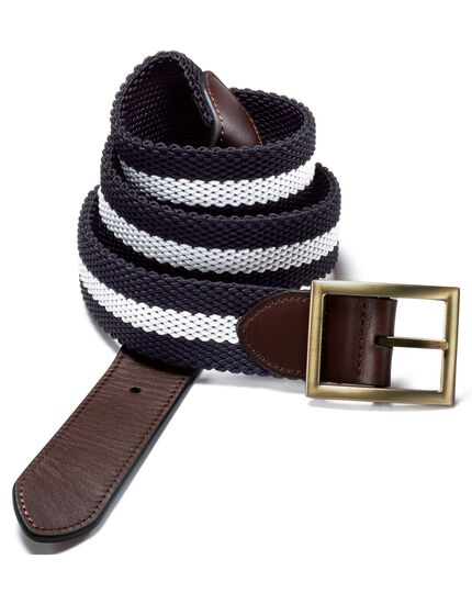 Navy reversible stretch belt