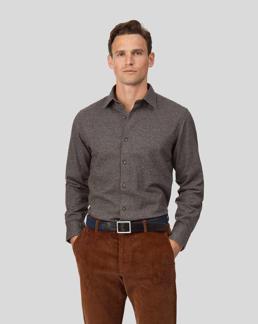 Winter Flannel Puppytooth Shirt - Brown