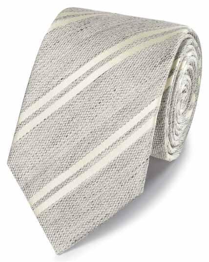 Silver stripe linen silk classic tie