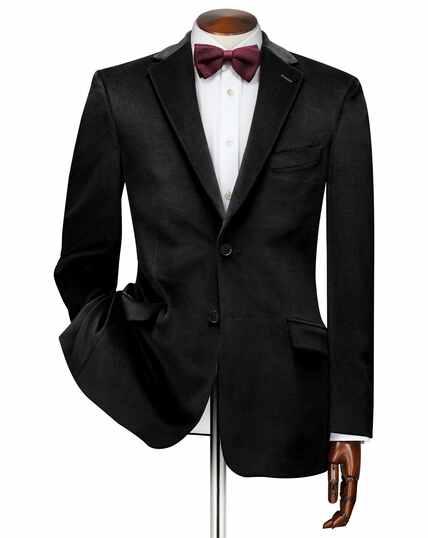 Slim fit black velvet jacket