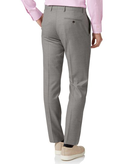 Silver slim fit Italian suit trousers