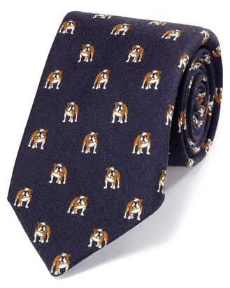 Navy bulldog print English luxury tie