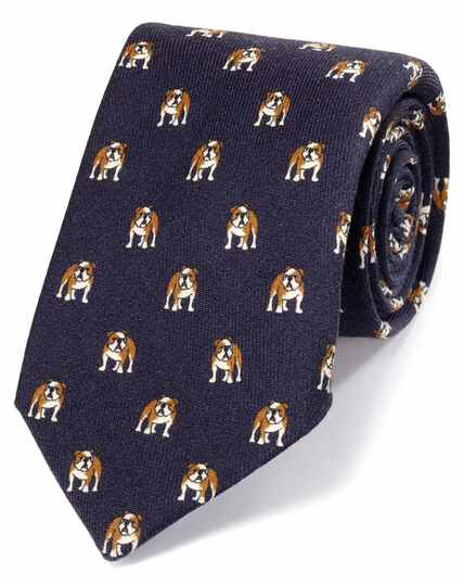 Navy bulldog print English luxury tie
