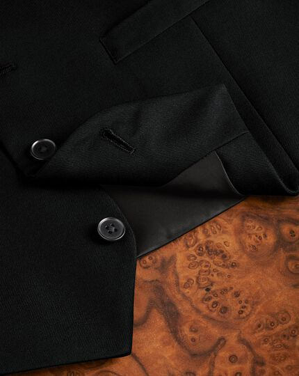 Black adjustable fit twill business suit waistcoat