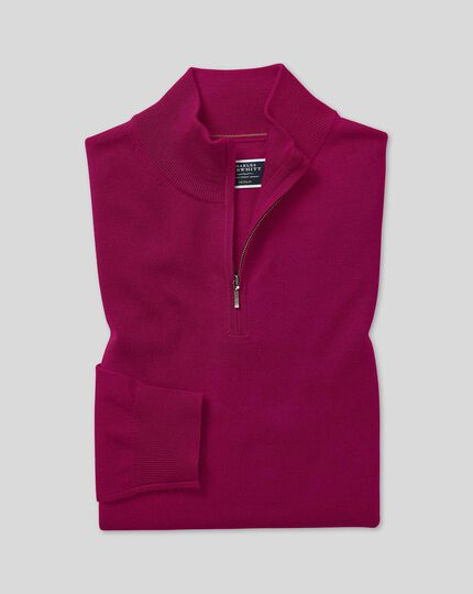 Merino Zip Neck Sweater - Dark Pink