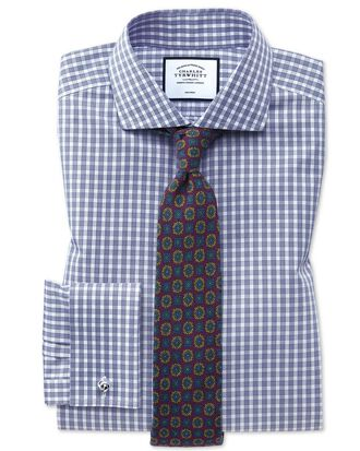 Extra slim fit non-iron twill gingham blue shirt