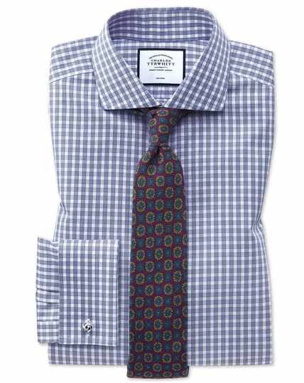 Extra slim fit non-iron twill blue gingham shirt