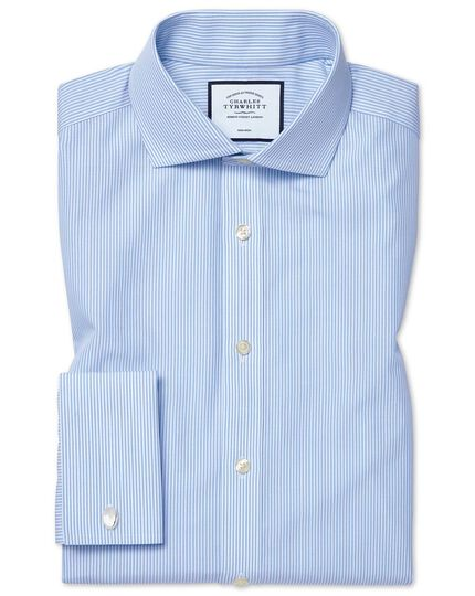 Slim fit non-iron cutaway sky blue Bengal stripe shirt