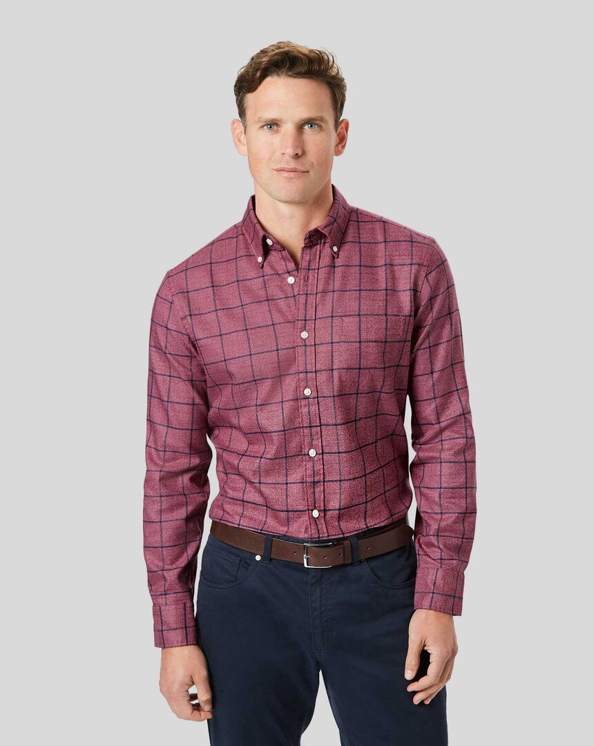 Button-Down Collar Soft Washed Non-Iron Twill Check Shirt - Berry & Navy