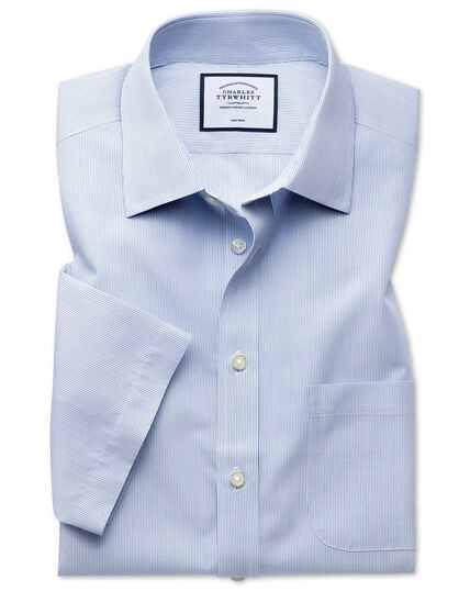 Slim fit non-iron Tyrwhitt Cool poplin short sleeve blue stripe shirt
