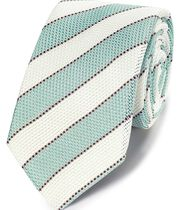 Aqua silk grenadine stripe italian luxury tie