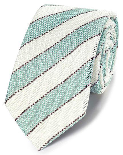 Aqua blue and white silk plain grenadine Italian luxury tie