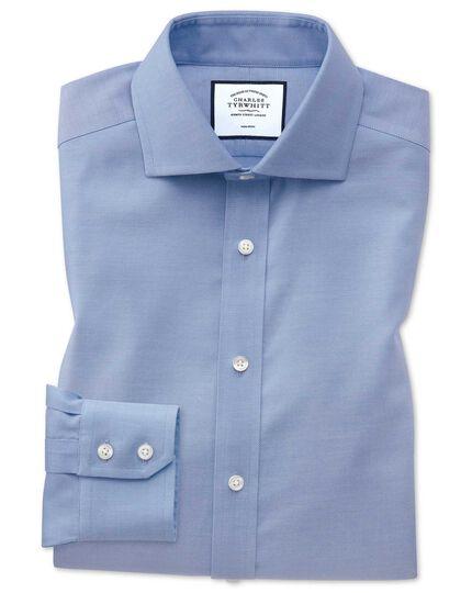 Slim fit spread collar non-iron cotton stretch Oxford mid blue shirt