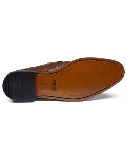 Brown Goodyear welted fringe brogue loafer