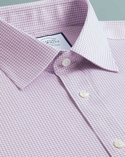 Slim fit non-iron twill mini grid check purple shirt