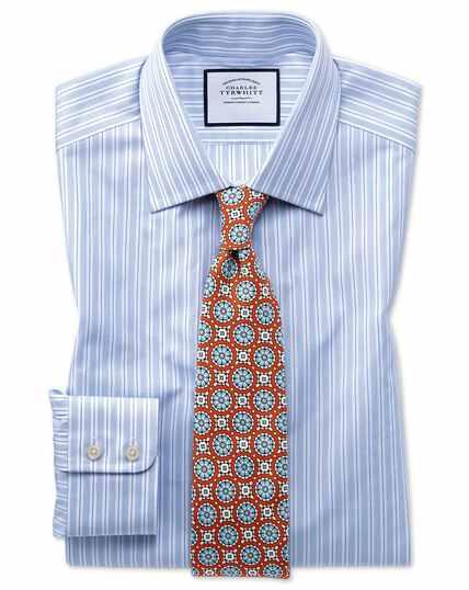 Chemise bleu ciel en popeline de coton égyptien coupe droite à rayures
