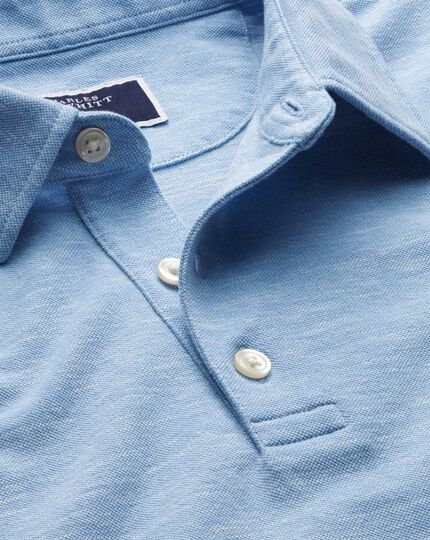 Blue cotton linen polo