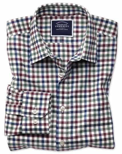 Slim fit brown multi block gingham brushed check shirt