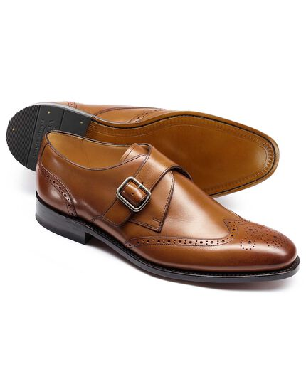Tan Compton monk brogue wing tip shoe