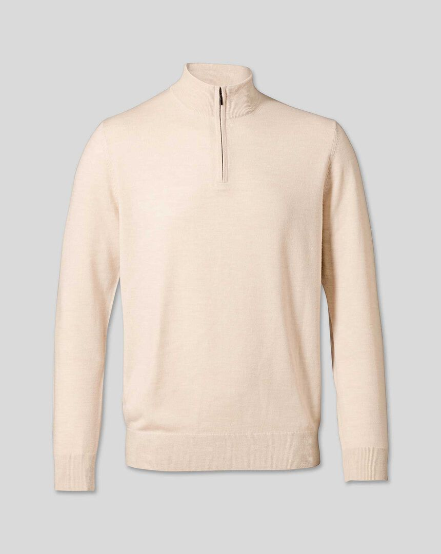 Merino Zip Neck Sweater - Stone