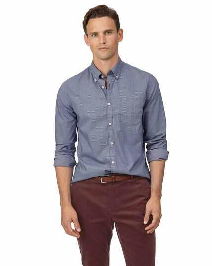 Marineblauw stretchpopeline overhemd met zachte wassing en paisleyprint, extra slanke pasvorm