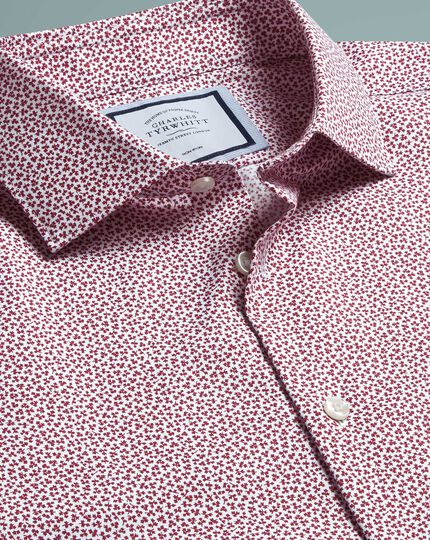 Slim fit non-iron leaf print berry shirt