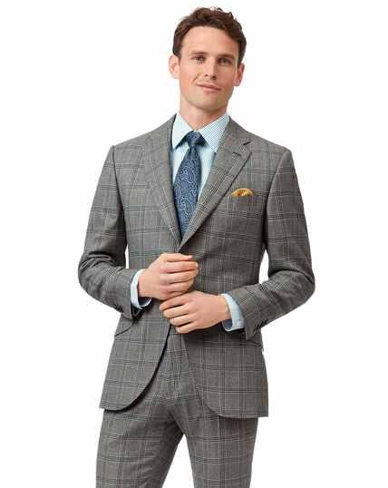 Veste de costume de luxe en tissu anglais grise à carreaux Prince de Galles slim fit