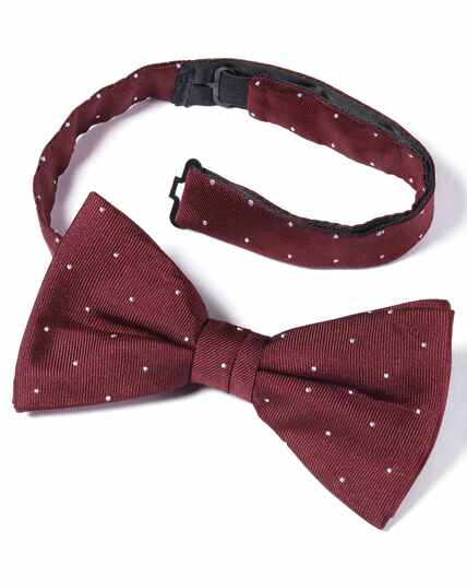 Burgundy and white spot ready-tied bow tie